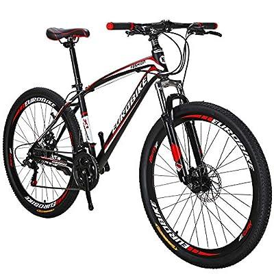 OBK 27.5 Wheels Mountain Bike Daul Disc Brakes 21 Speed Mens Bicycle Front Suspension MTB (Red Aluminium Rims)