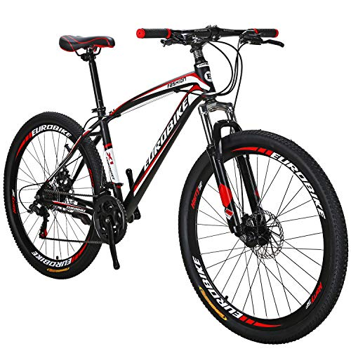 OBK 27.5 Wheels Mountain Bike Daul Disc Brakes 21 Speed Mens Bicycle Front Suspension MTB (Red Aluminium Rims)