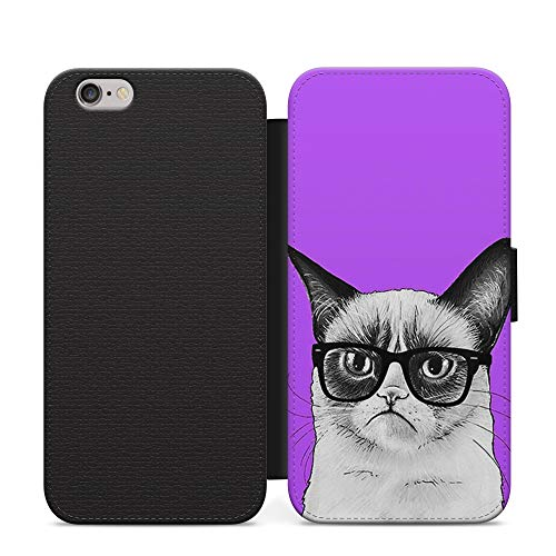 Púrpura Gato Gafas Lindo Caras Cartera Cuero Flip Teléfono Cubierta Para Huawei P30 Pro
