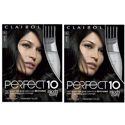 Clairol Nice 'n Easy Perfect 10 Permanent Hair Dye Kit, Black, 2 Count