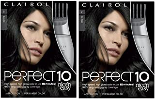Clairol Perfect 10 By Nice 'N Easy Hair Color Kit (Pack of 2), 002Black Hair Color, Includes Comb Applicator, Lasts Up To ...