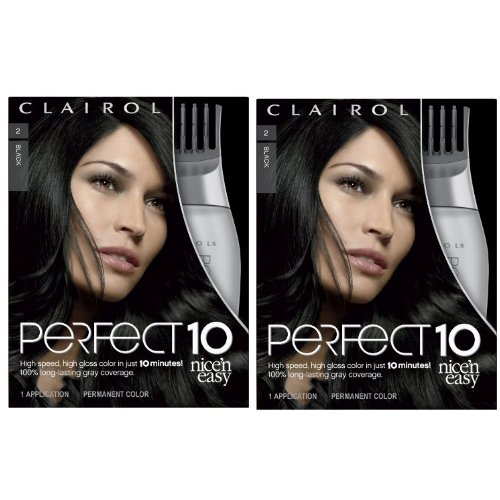 of home hair colours dec 2021 theres one clear winner Clairol Nice'n Easy Perfect 10 Permanent Hair Dye, 2 Black Hair Color, 2 Count