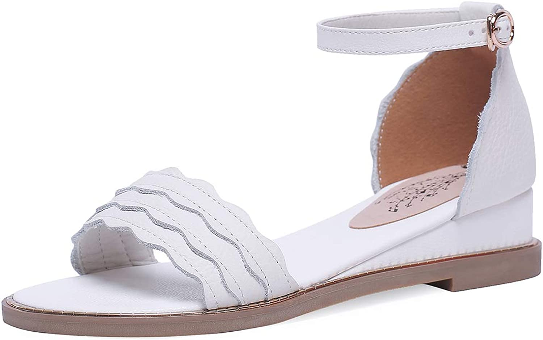 SaraIris Women's Open Toe Casual Flat Heel Ankle Strap Buckle Sandals