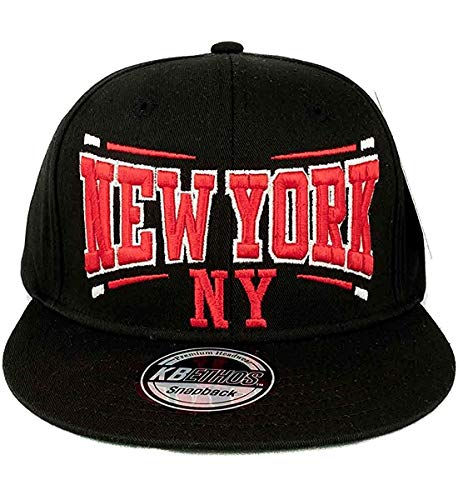 KB Ethos pour homme Motif New York NY Baseball Caps Casquette Hip Hop Motionperformance Essentials de tête Noir/rouge - Noir - Taille unique