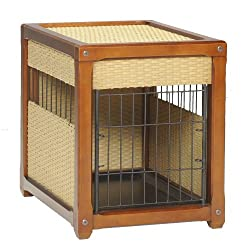 deluxe wood and rattan furniture style dog crate by Mr. Herzhers