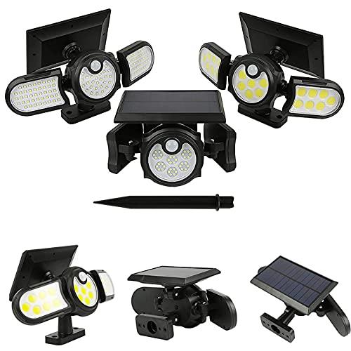 LVOD Luz solar Iluminação externa Refletor Holofote Led de três cabeças Sensor Humano Wall Street Lamp Jardim gramado Luz impermeável montado na parede/modo de solo