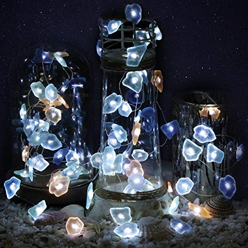 HDNICEZM Sea Glass Decorative String Lights, 14.1 Ft 40 LED Battery Powered Waterproof 8 Modes Silver Copper Wire Beach Theme Fairy Lights for Indoor Outdoor Decoration Projects. (Cold White, Timer).