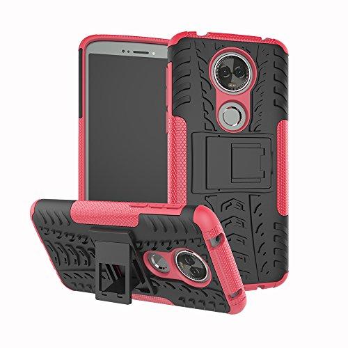 TiHen Handyhülle für Motorola Moto E5 Plus Hülle, 360 Grad Ganzkörper Schutzhülle + Panzerglas Schutzfolie 2 Stück Stoßfest zhülle Handys Tasche Bumper Hülle Cover Skin mit Ständer -Rose