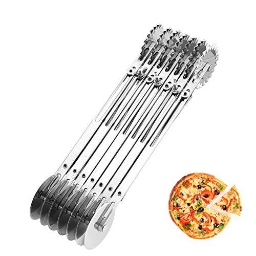Pizzasnijder, roestvrij staal, met 7 wielen, dubbele uiteinden, meerdere ronde messen, deegrollers, keukenmes, bakgereedschap voor keuken, restaurant cadeau