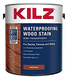 professional KILZ L832211 Exterior wood sealer patch, translucent, mahogany, 1 gallon, 1 gallon, 4 L