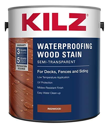 KILZ L832211 Exterior Waterproofing Wood Stain, Semi-Transparent, Redwood, 1-Gallon, 1 Gallon, 4 l