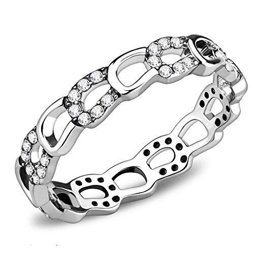ETERNAL SPARKLES Women's Horseshoe Hoove Horse Equestrian Riding Band with Crystal Details Symbolic Novelty Fashion Hypoallergenic Stainless Steel Statement Ring