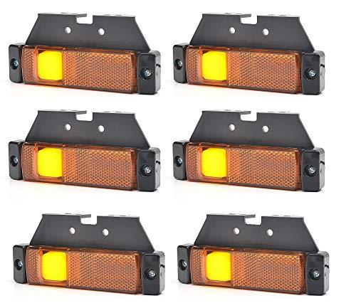 6 luces LED laterales de 24 V, color naranja y ámbar, con soportes, para camión, remolque, Krone, Lory.