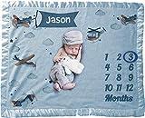 Personalize It Milestone Baby Blanket Custom Baby Boy Airplane Name Luxe Satin Trim Edge Double Sided Polar Fleece (Blue, 30 x 40)