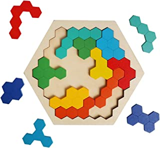 HOONEW Wooden Puzzles Brain Teasers Toy for Kids Adults, Colorful Shape Hexagon Geometry Logic Tangrams Puzzle Table IQ STEM Game Montessori Educational Toys Children(16 Pcs)