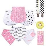 Baby Burp Cloths Pack for Newborn Girls 3 Bibs,3 Burps,2 Pacifier Clips,1 Pacifier case So...