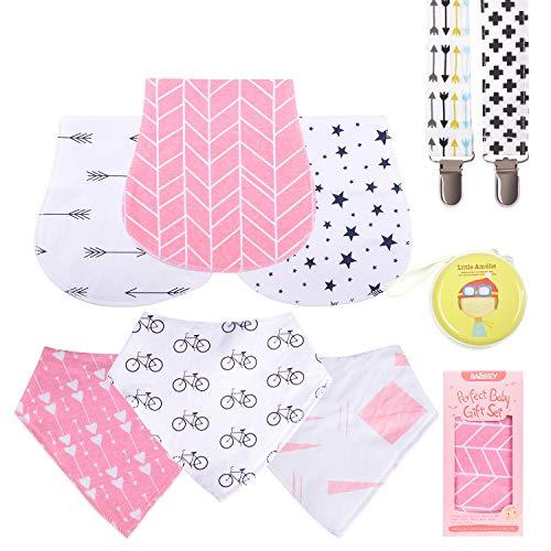 Baby Burp Cloths Pack for Newborn Girls 3 Bibs,3 Burps,2 Pacifier Clips,1 Pacifier case SoftBurp Cloths Girl Amazing Gifts Set for Baby Shower