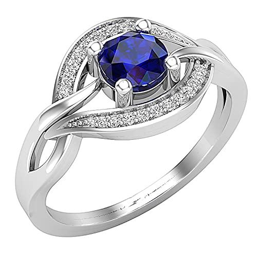 Dazzlingrock Collection Anillo de compromiso redondo de 5 mm con zafiro azul y diamantes blancos en forma de ojo elegante para mujer, plata de ley 925, talla 5