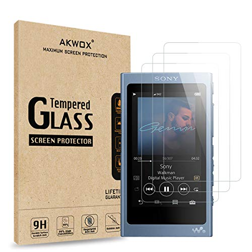 AKWOX [Pack of 3] Tempered Glass Screen Protector For Sony NW-A45, [0.3mm 2.5D High Definition 9H Hardnessm] Screen Protector for Sony NW A40 A45 A46 A47