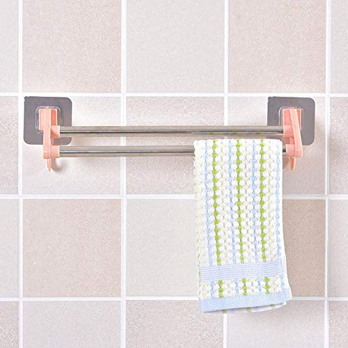 Handtuchringselbstklebende Wand Handtuchhalter Multifunktions Bad Handtuchhalter Double Pole Shelf Home Organizer-Pink