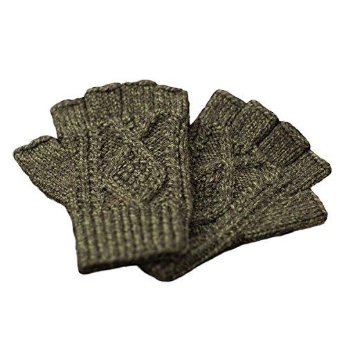Carraig Donn 100% Irish Merino Wool Moss Green Adult Aran Knit Fingerless Gloves