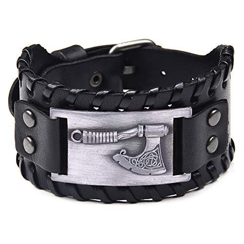 Viking Axe Bracelet Wristband - Celtic Knotwork Leather Bracelet - Pagan Wide Cuff of Talisman