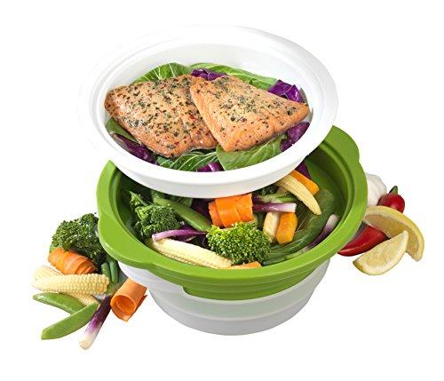 Salter Cuiseur Vapeur pour légumes, Viande et Poisson à Micro-Ondes sain avec Couvercle en Silicone en Acier au Carbone BW06259 DUOsteam, Vert, Green, 18 et 20cm