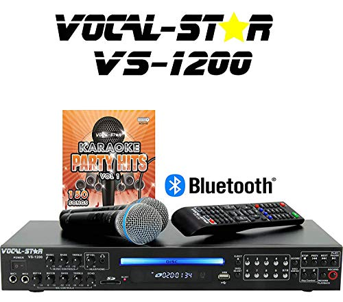Vocal-Star VS-1200 CDG DVD HD Karaoke Machine, 2 Pin EU Plug, With 2 Microphones and Top Party Songs (English Manual)