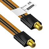 mumbi Câble flexible passe fenêtre Sat Parabole 26 cm (fiche F femelle / Fiche F) ultra Slim / Plat