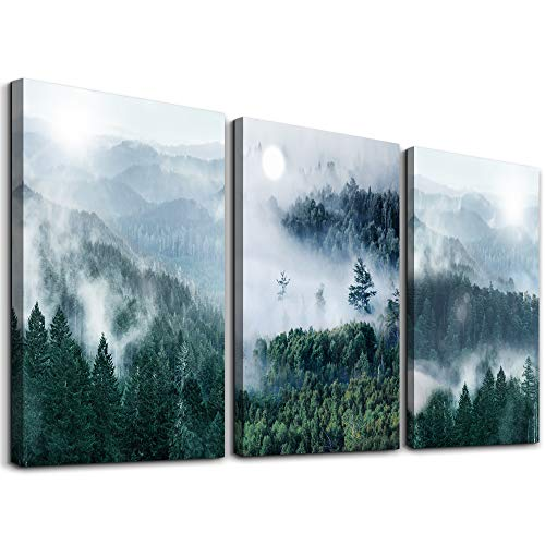 Canvas Wall Art for Living Room Wall Decorations for Bedroom Modern Family Wall Decor Paintings Fog Forest Wall Pictures Artwork Office Inspirational Canvas Art Prints Kitchen Home Decoration 3 Piece