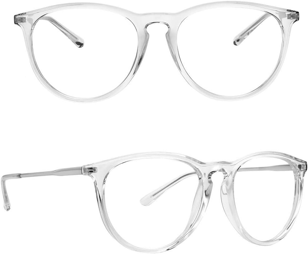 Blue Light Blocking Glasses for Women Men, Yaroce Anti Glare UV Digital Eye Strain Computer Glasses, Stylish Round Blue Blocker Gaming Glasses - Clear Frame