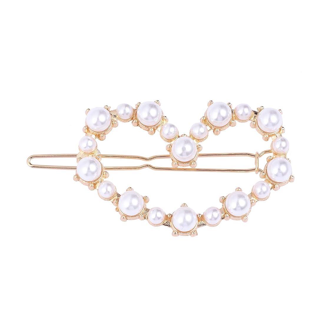 独立して乱雑な逮捕Lurrose 女性の女の子のための真珠のヘアクリップ幾何学的なハートボビーピンラインストーンバレット