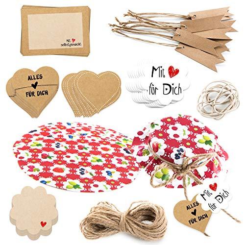 Logbuch-Verlag Set regalo colorato per cuochi amatoriali, 81 pezzi, coperchio per marmellate rosso con frutti + adesivi & Paper Tags per fai da te
