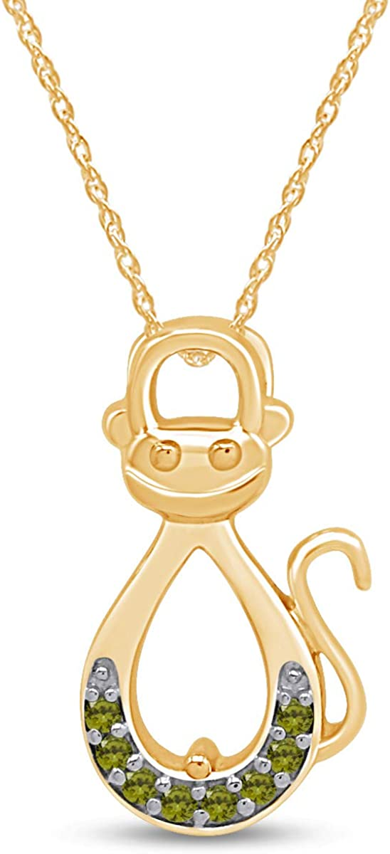 AFFY Infinity Monkey Pendant Necklace in St 14K Gold Yellow Over Spring new Regular store work