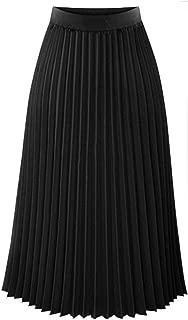 Fitfuvan - Falda Larga para Mujer, Plisada, Elegante, Cintura elástica