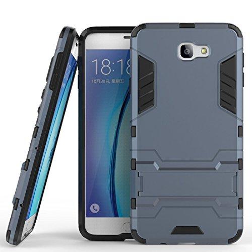 MaiJin Funda para Samsung Galaxy J5 Prime/Galaxy On5 2016 (5 Pulgadas) 2 en 1 Híbrida Rugged Armor Case Choque Absorción Protección Dual Layer Bumper Carcasa con Pata de Cabra (Azul Negro)