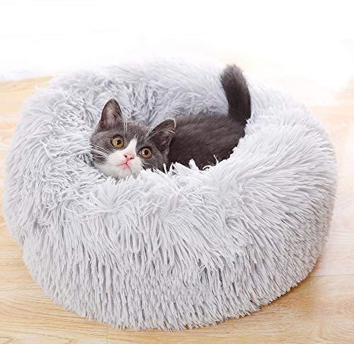 Fluffig lugnande husdjurssäng katt munk kramsäng kudde lugnande mjuk plysch valp soffa mysig kattbädd bo rund säng kennel sovsäng för små medelstora hundar katter kattunge, lindra ångest, varm gosa