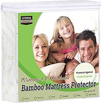 Utopia Bedding Premium Bamboo Mattress Protector 340 GSM Fits 15 Inches Deep Easy Care  Twin