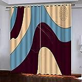 QCTTBD Cortinas De Opacas - 264X 214 Cm - Impresiones Abstractas Vintage - para Sala Cuarto Comedor Salon Cocina Habitación...