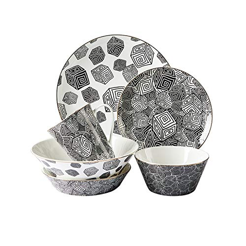 Dinner Plate Modern Creative Plates Set & Dishes Set Black and White Round Dinner Plate Sets Premium Quality Porcelain Dinnerware Set of 6 Plate