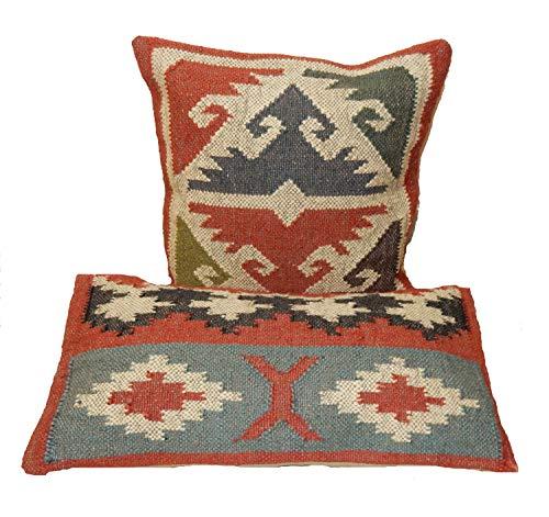 Handicraft Bazarr 2 fundas de cojín cuadradas y rectangulares de 12 x 24 pulgadas de lana de yute con cremallera, estilo indio, vintage, decoración del hogar, estilo hippie rústico