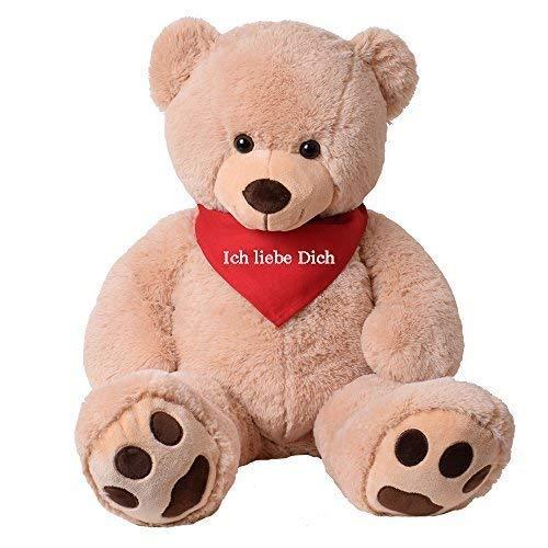 TE-Trend XXL Riesen Teddybär Plüsch Riesenplüsch Bär Luca beige 100 cm gestickte Tatzen Tuch Halstuch Ich Liebe Dich