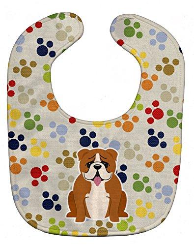 Caroline's Treasures BB5949BIB Pawprints English Bulldog Red White Baby Bib, 10 x 13', multicolor