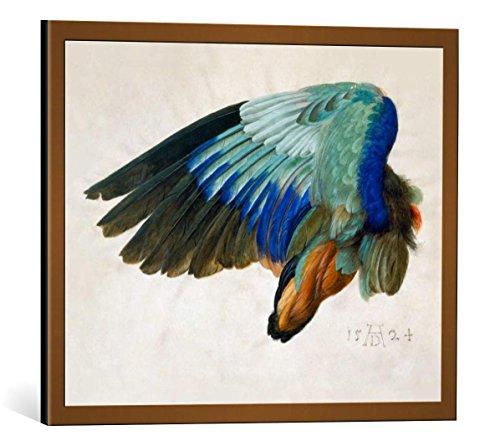 kunst für alle Bild mit Bilder-Rahmen: Albrecht Dürer Flügel eines Vogels - dekorativer Kunstdruck, hochwertig gerahmt, 50x40 cm, Kupfer gebürstet