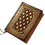 TOYMYTOY Cuaderno de Diario Antiguo Hecho a Mano en Relieve Diario de Cuero Vintage Libro de Bocetos en Blanco Bloc de Notas Diario de Viajero para La Oficina de La Escuela en Casa Oro