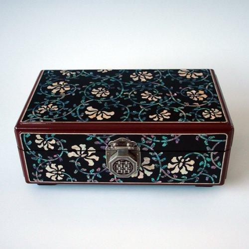 Joyero con Madreperla Acabado Nacarado de Madera Diseño de Arabescos Negros Asia Oriental Decorativo Caja Lacrada