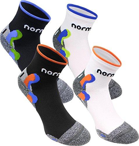 normani 4 Paar Funktionale Kurzschaft-Sportsocken mit Achillessehnen- & Knöchelprotektor Farbe Schwarz/Orange Größe 39/42