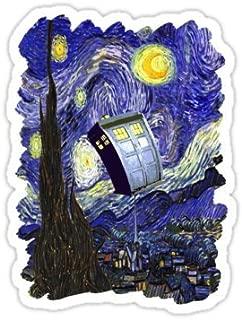 Chili Print Tardis Starry Night - Sticker Graphic Bumper Window Sicker Decal - Doctor Who Dr Who Sticker