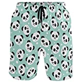 visesunny Cute Panda Animal Print Men's Beach Shorts Swim Trunks...