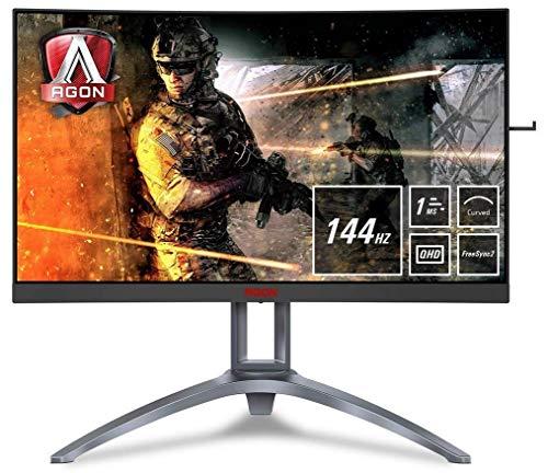 """AOC AGON AG273QCX Monitor Gaming Curvo da 27"""", QHD 2560 x 1440, 144Hz, Tempo di Risposta 1 ms, Speaker, D-Sub, 2 HDMI, 2 DP, 4 Porte USB, Nero/Rosso"""